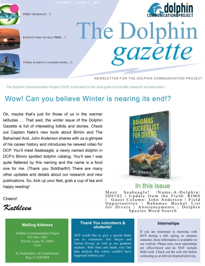 The Dolphin Gazette, Vol 21, no 1 is here!